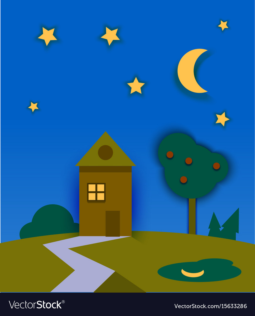 Night time nature landscape with house moon and
