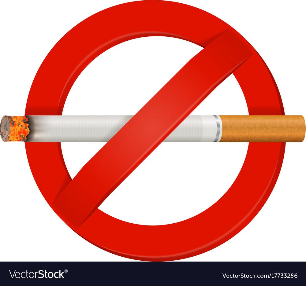 no smoking realistic cigarette sign royalty free vector