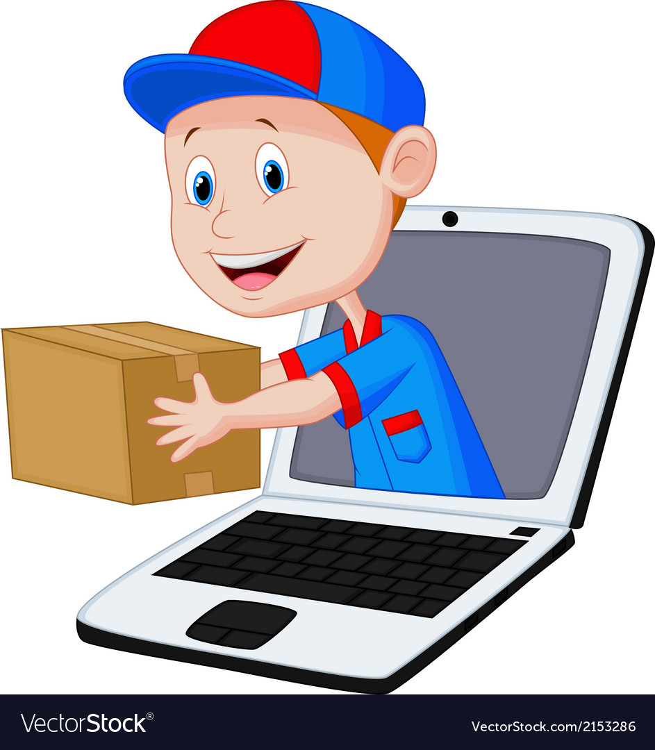 Online delivery cartoon vector image