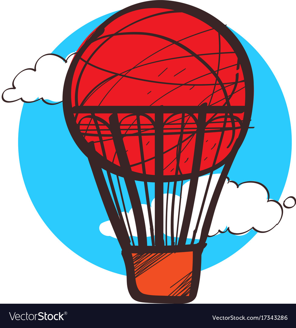 red balloon clipart hand drawing style royalty free vector