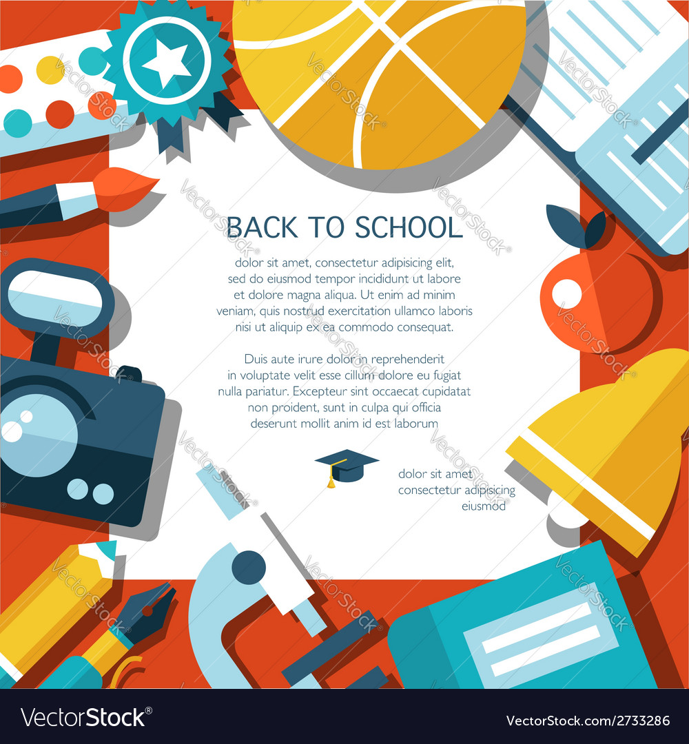 School Flat Design Flyer Template Royalty Free Vector Image