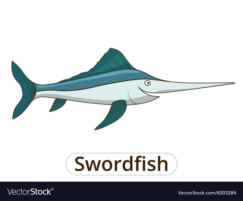 Swordfish underwater animal cartoon
