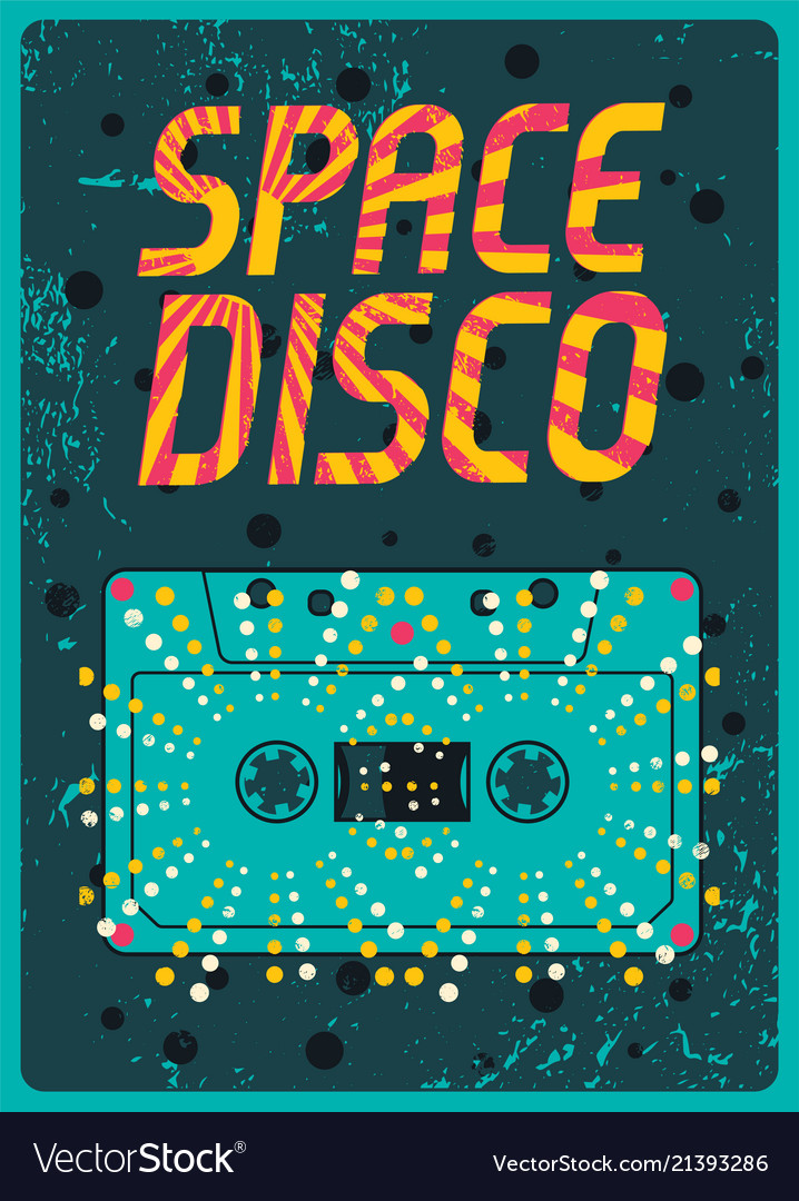 Typographic vintage space disco party poster