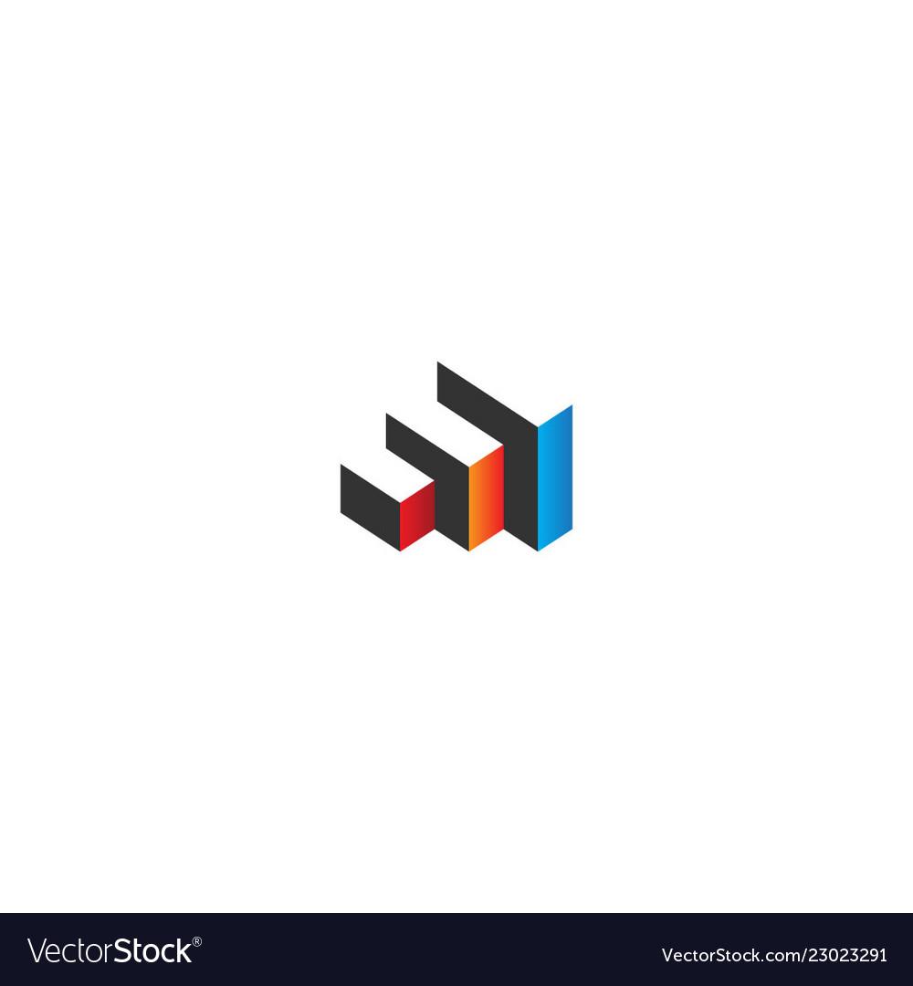 3d cube colored architecture logo
