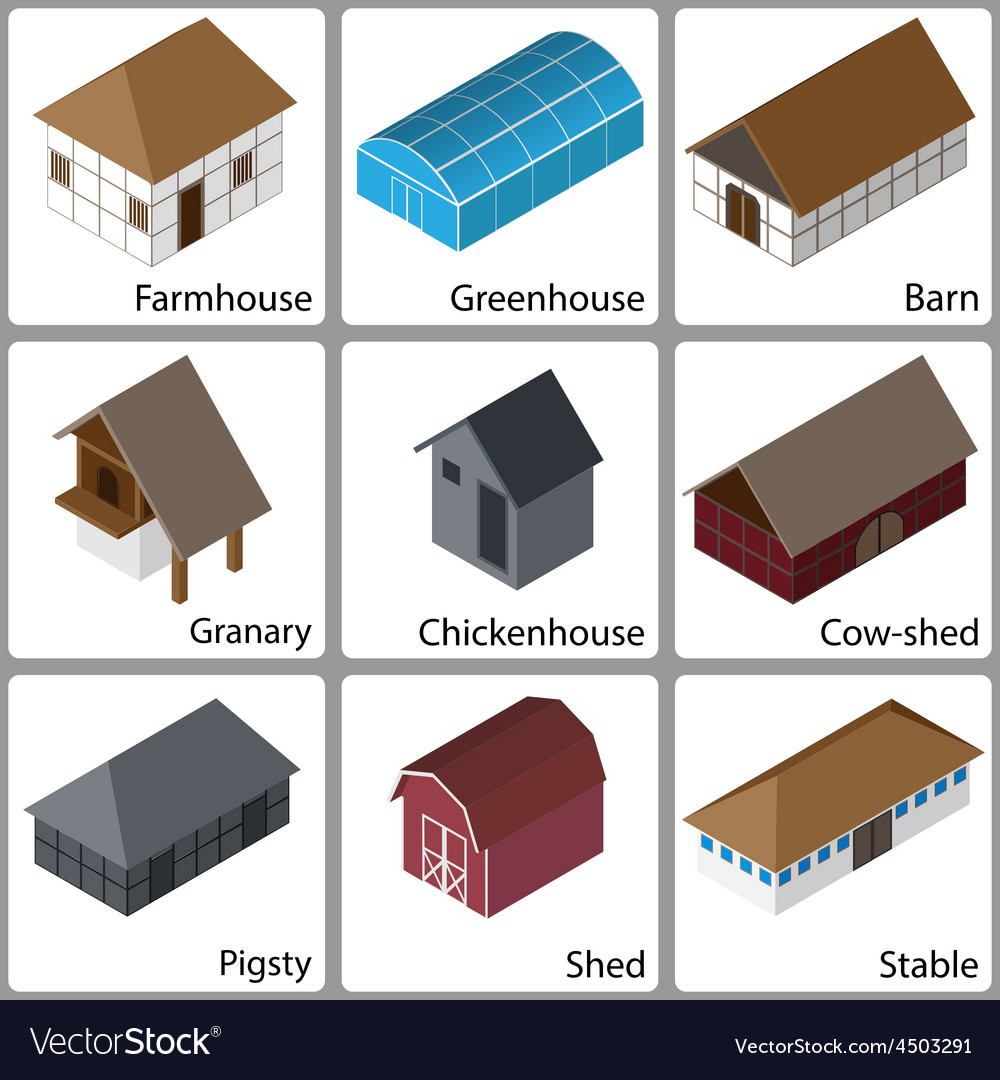 3D Farm Buildings Icons