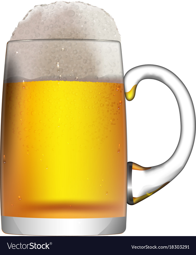 A glass mug with beer isolated on a white