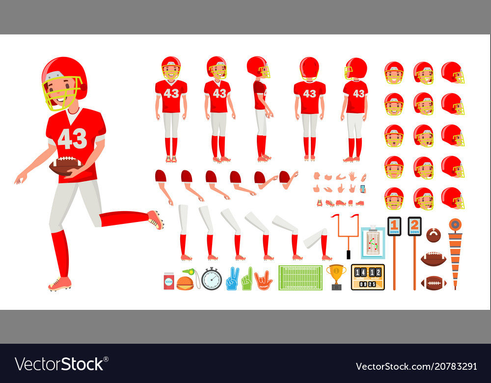 American football player male animated