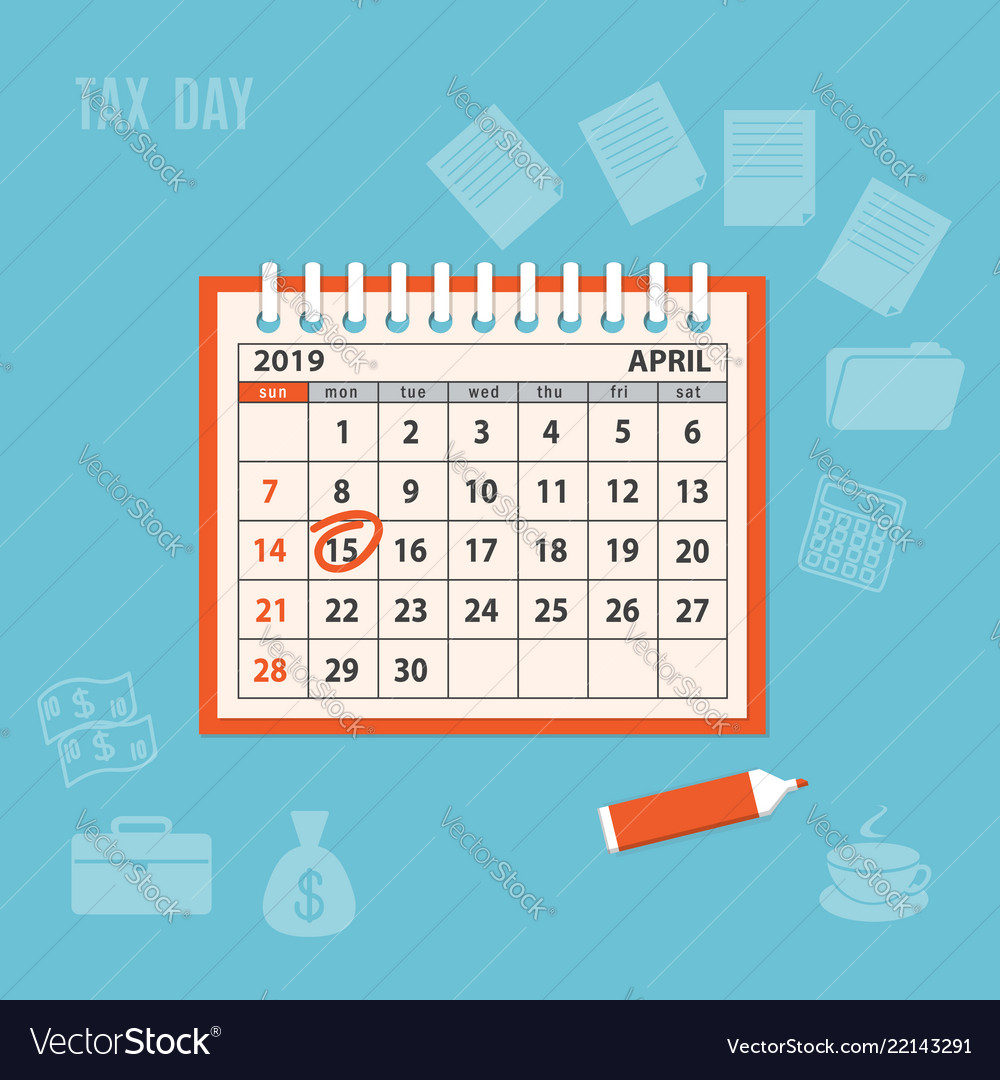 april page 2019 spiral calendar with marked tax vector image