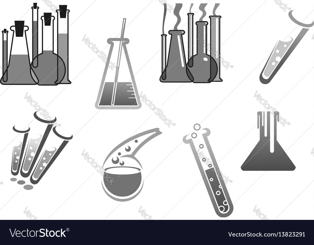 Chemistry icons chemical tubes tests