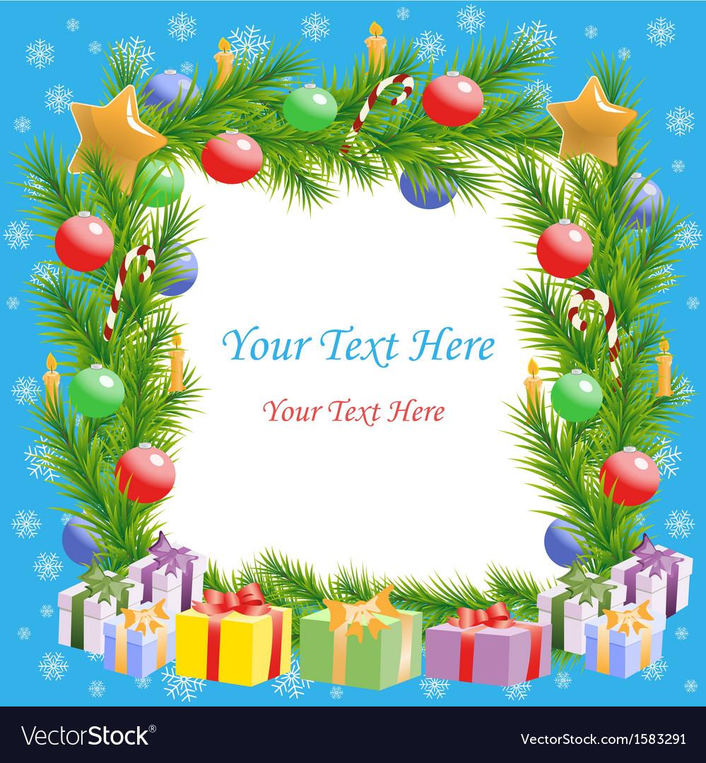 Christmas greetings Christmas tree frame with text