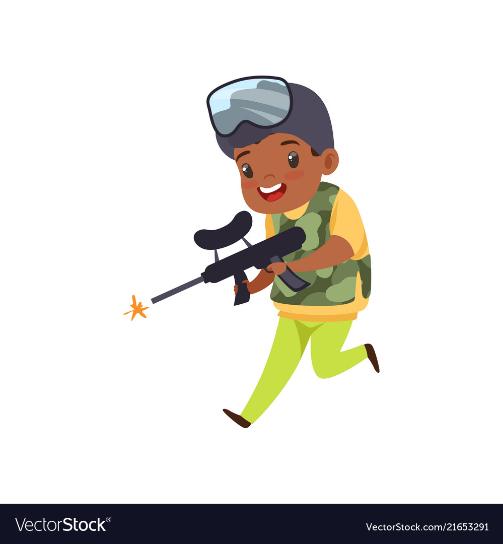 Cute little african american boy playing paintball