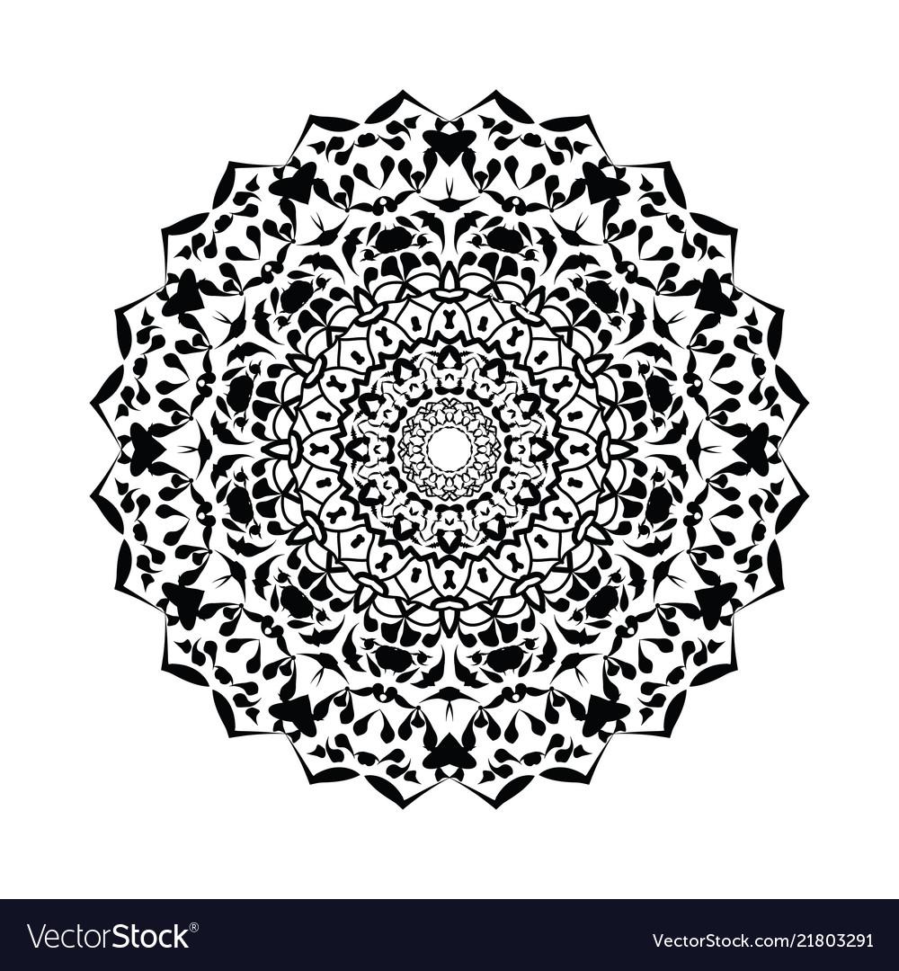 Floral round decorative symbol vintage decorative