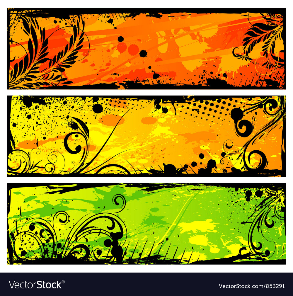 Grunge floral banners set