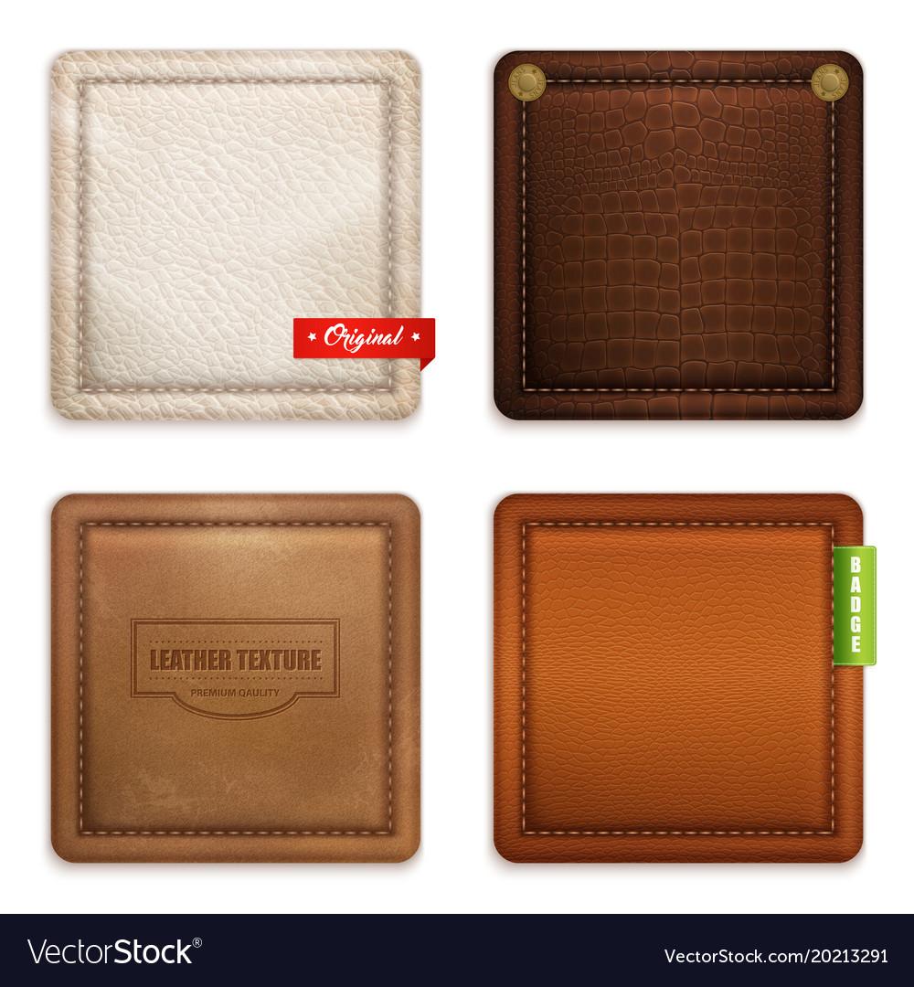 Realistic genuine leather texture set