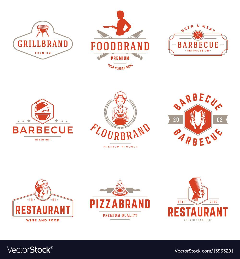 Restaurant logos templates objects set