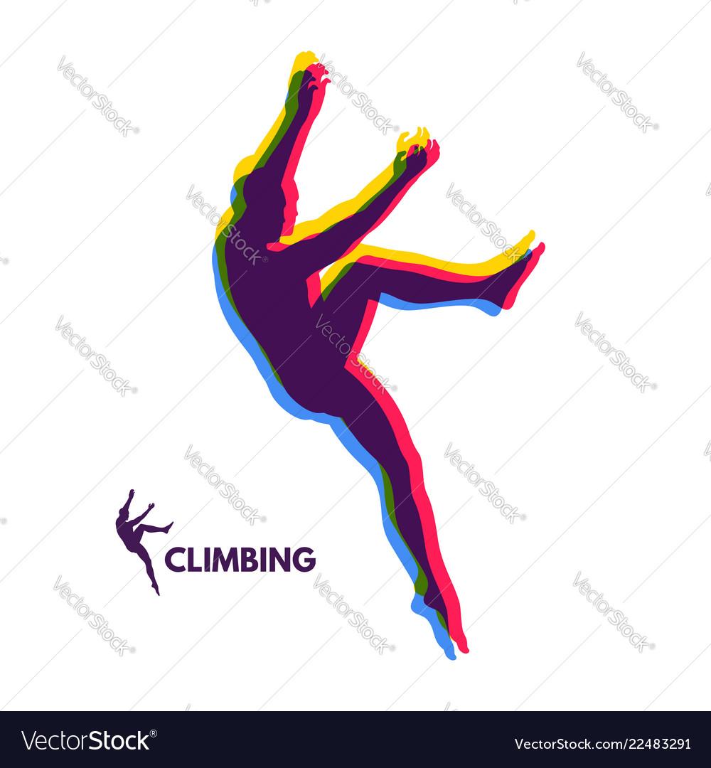Rock climber silhouettes bouldering sport
