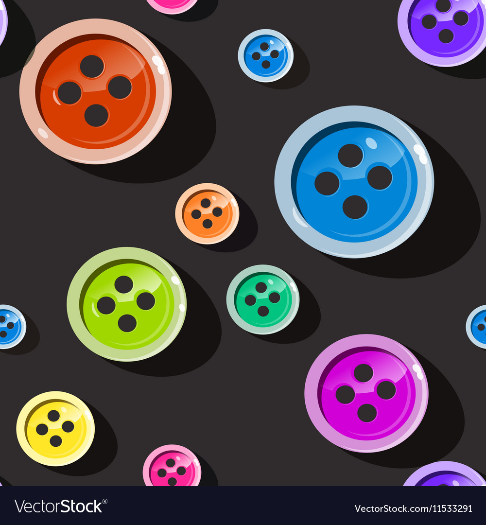 Seamless Buttons Colorful Button Pattern on Dark