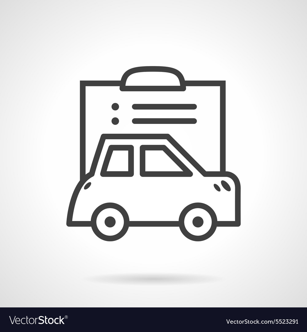 Simple Line Icon For Car Paperwork Royalty Free Vector Image
