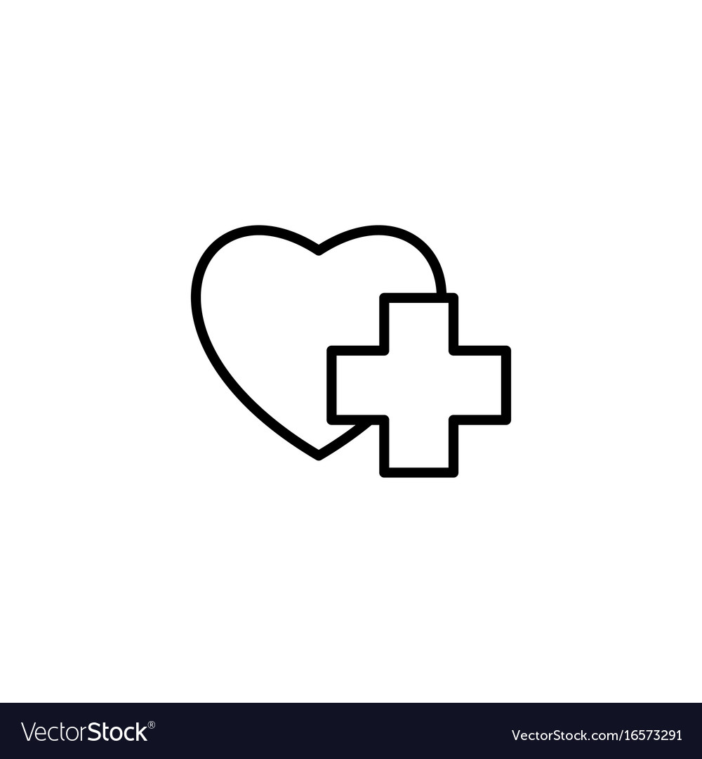 Thin line heart with medical sign icon on white