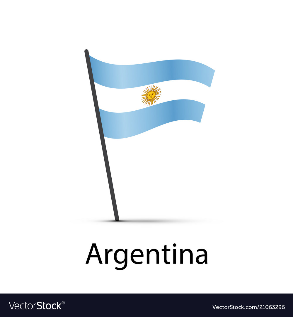 Argentina flag on pole infographic element on