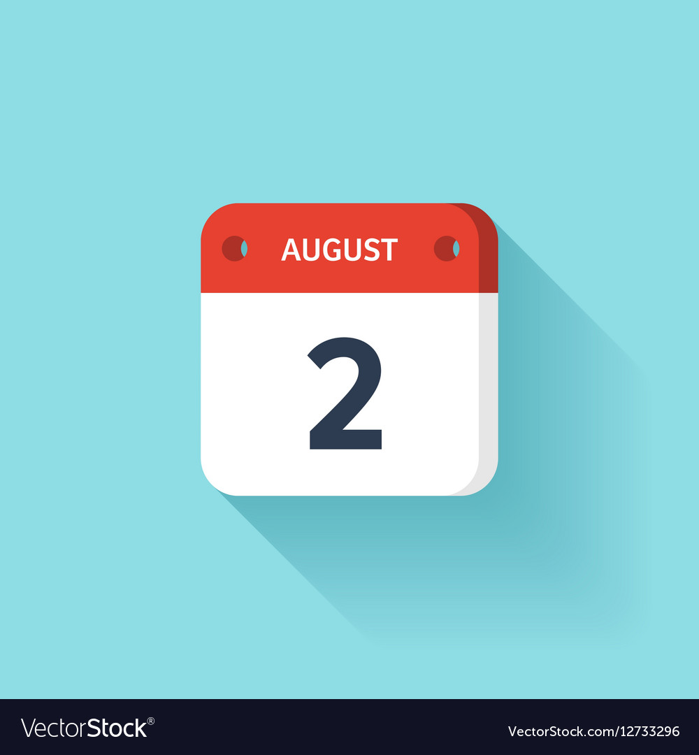 August 2 Isometric Calendar Icon With Shadow vector image