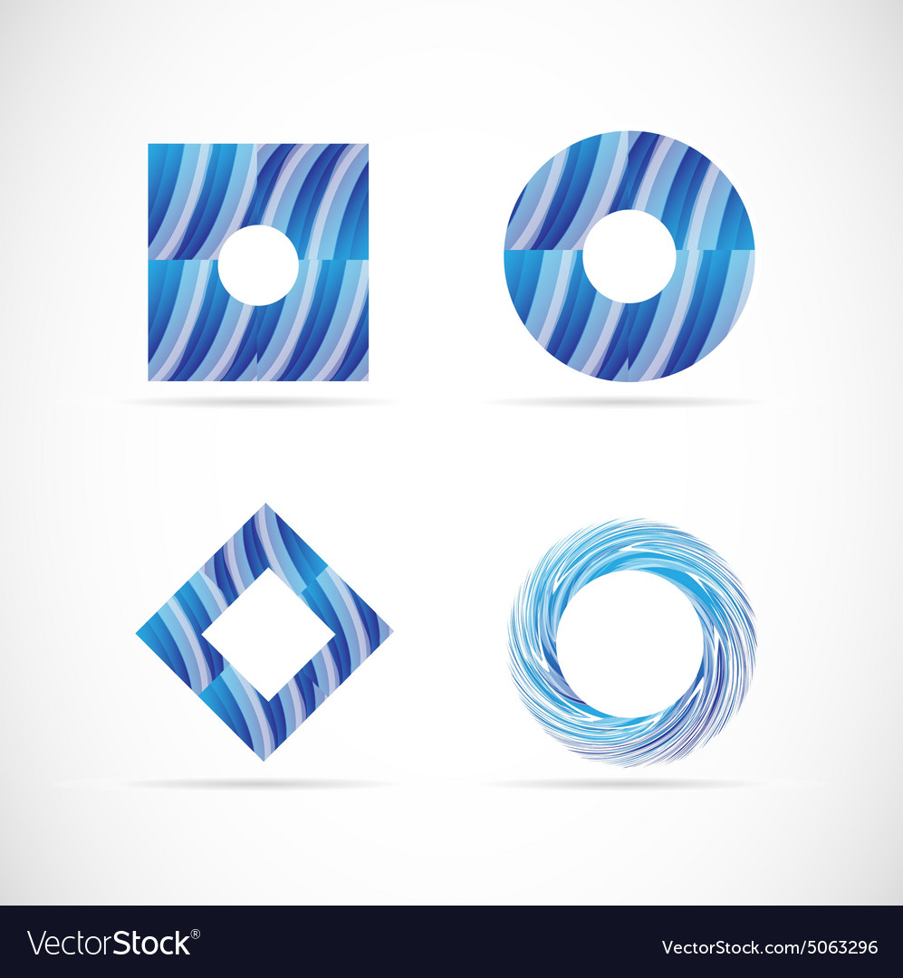Blue logo elements icon set