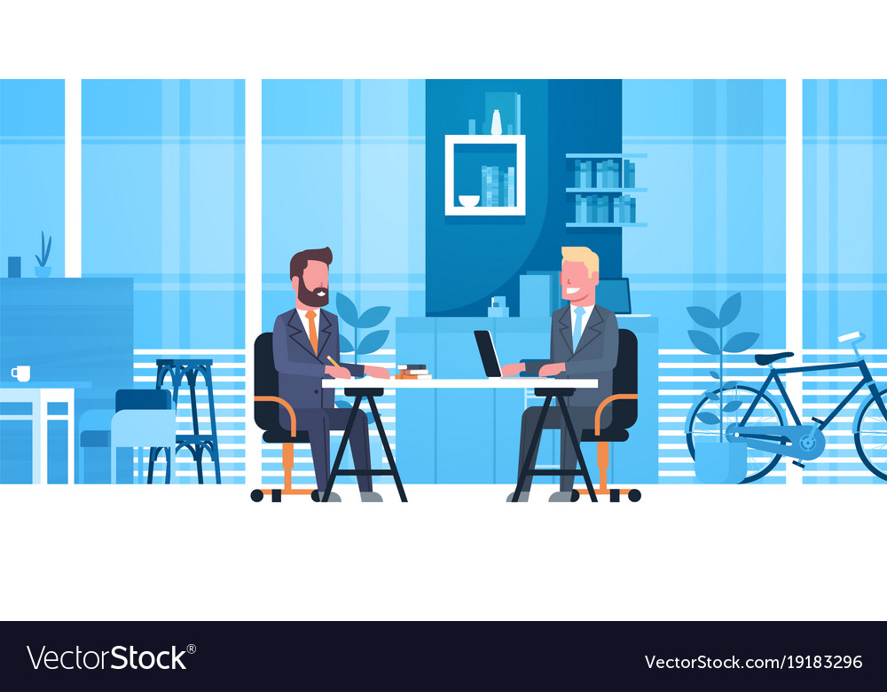 Business man on job interview with hr manager two
