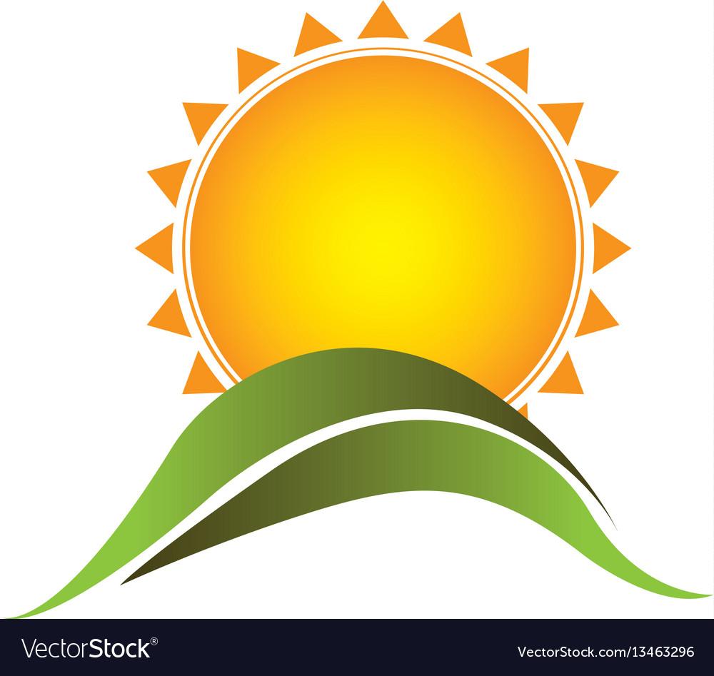 Color sticker sun with mountain icon vector image