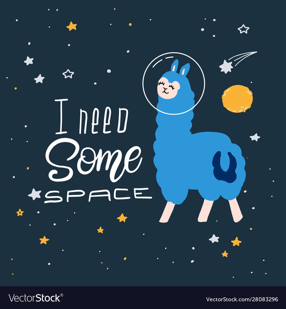 Cute cartoon print with llama in space hand