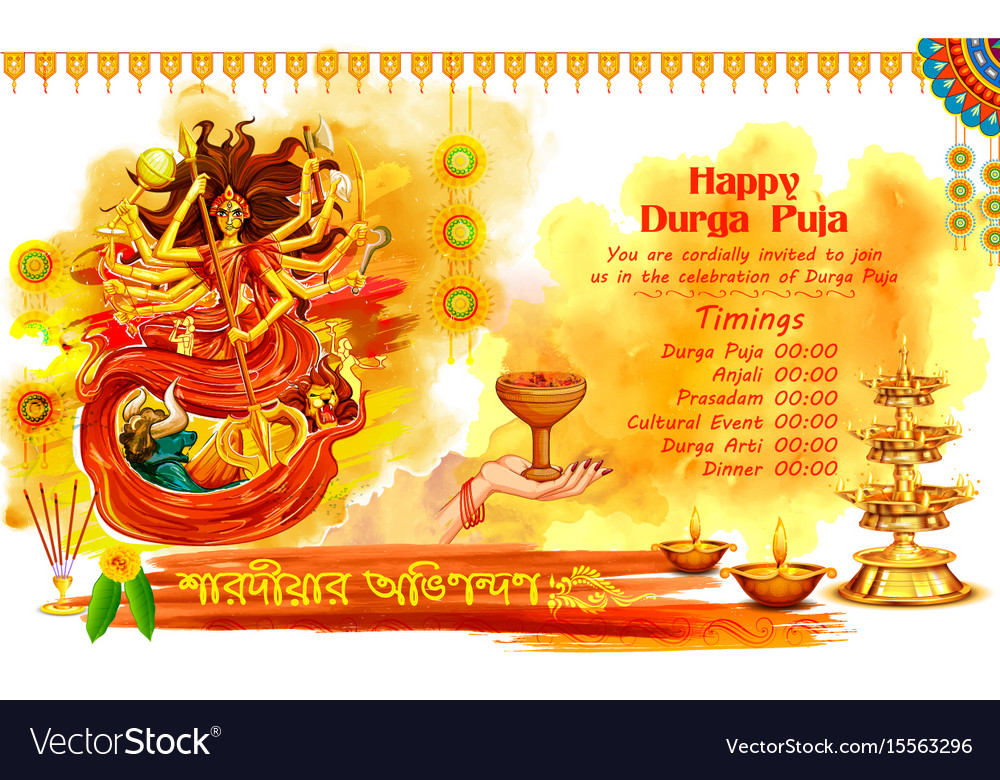 Goddess durga in happy dussehra background with