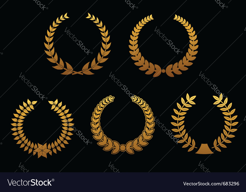 Golden laurel wreaths vector image