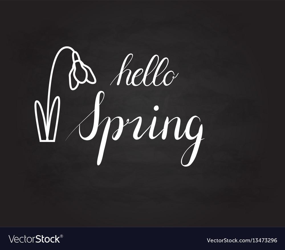 Hello spring grunge vintage lettering on a