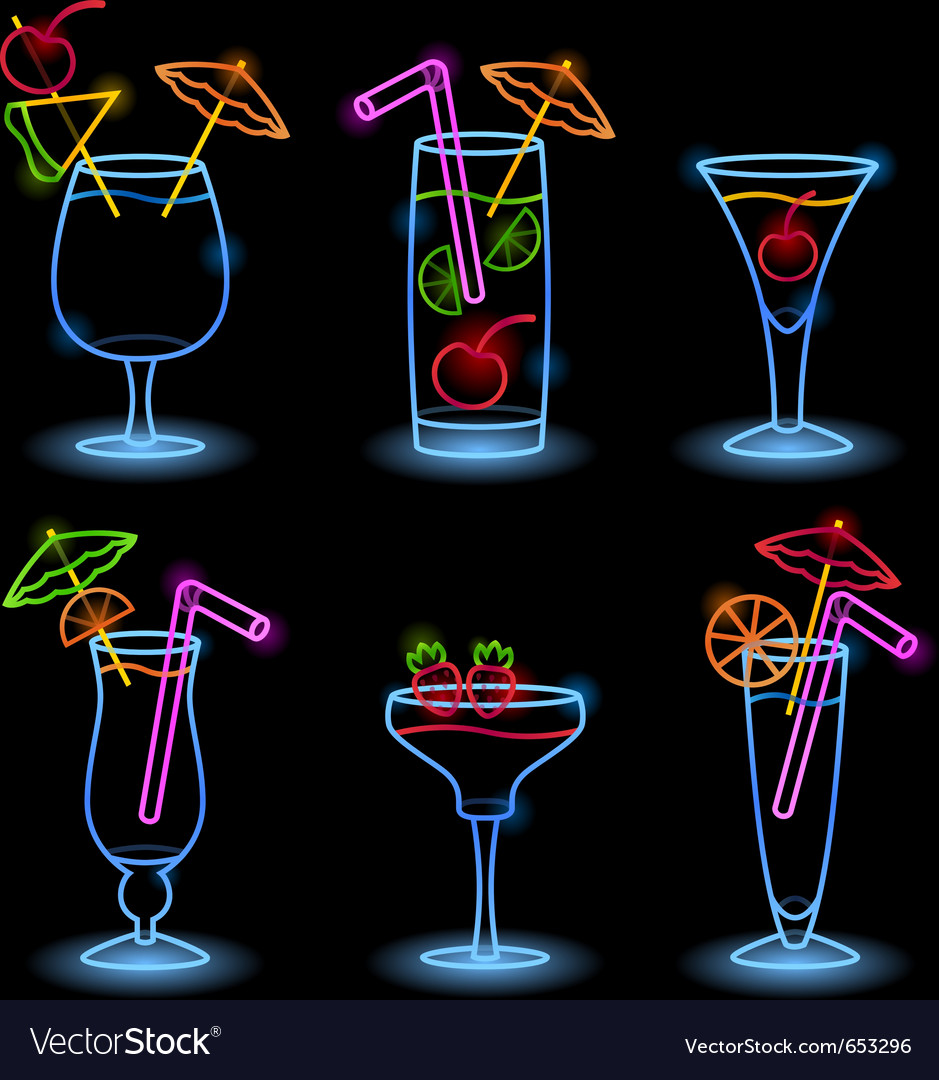 Neon tropical drinks vector image