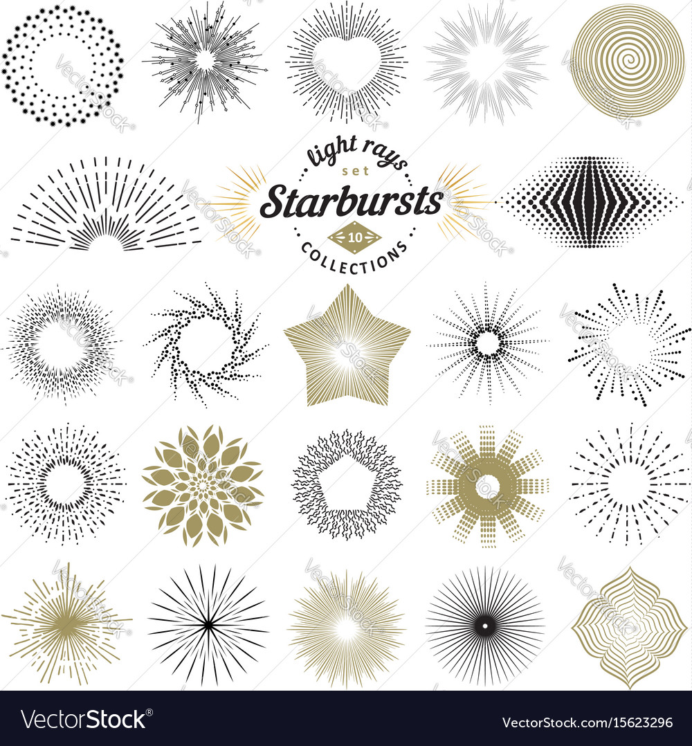 rays and starburst design elements royalty free vector image