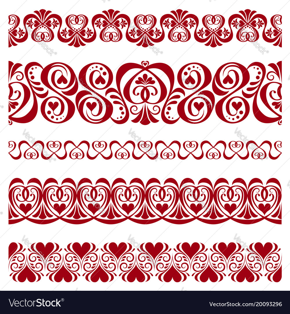 Set of pattern borders for decorate on valentines Vector Image