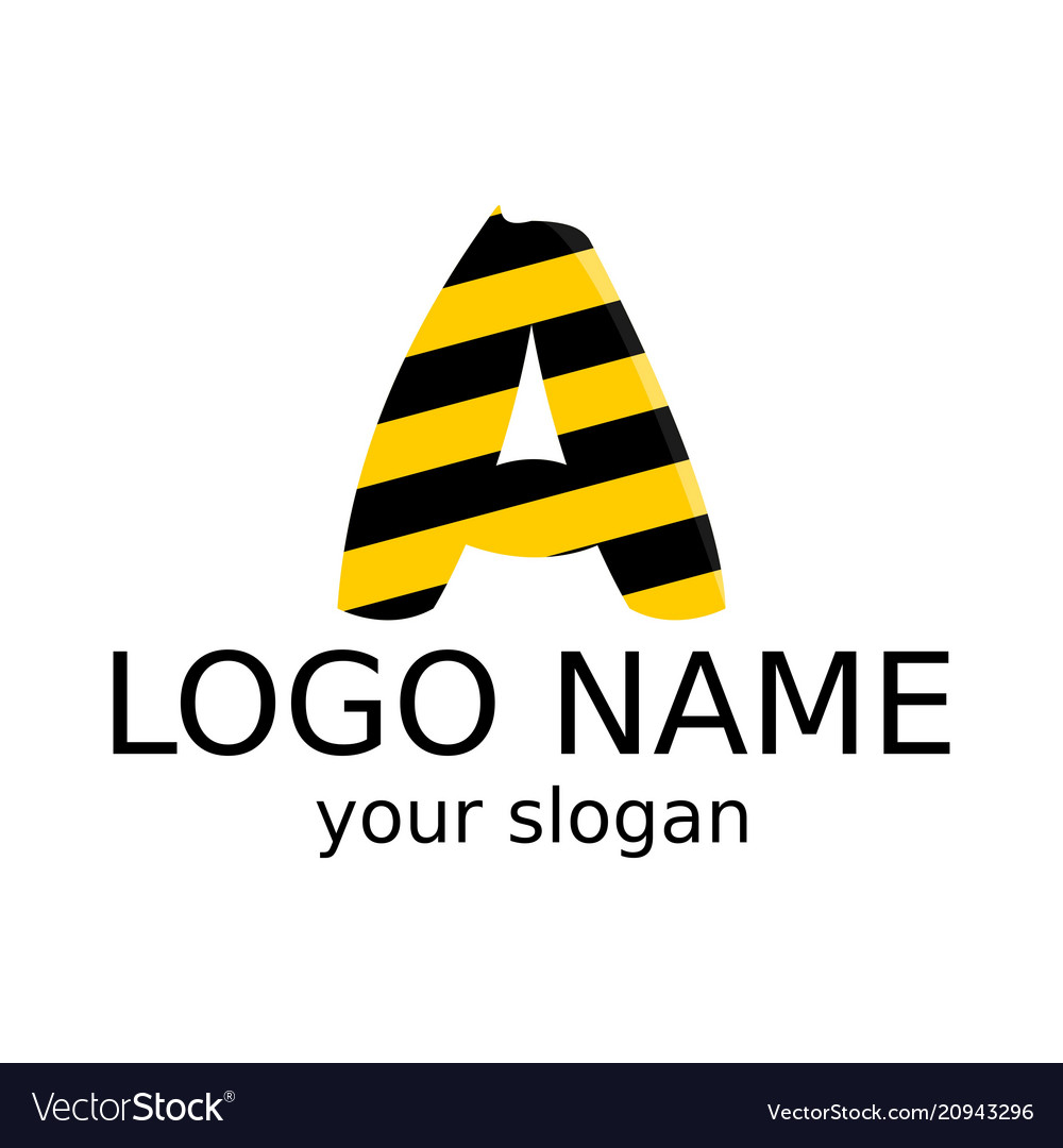 The letter a is black and yellow abstract logo