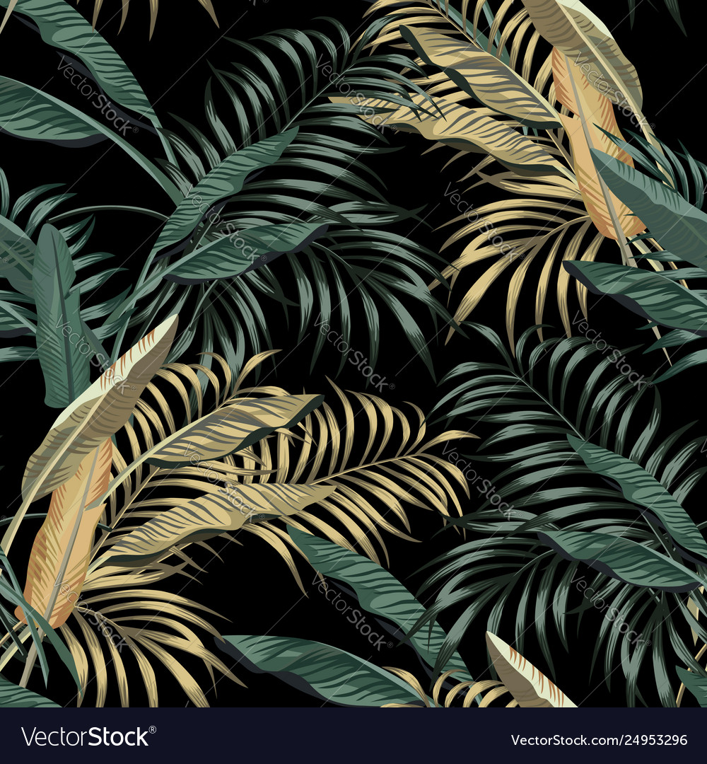 Tropical banana leaves seamless black background
