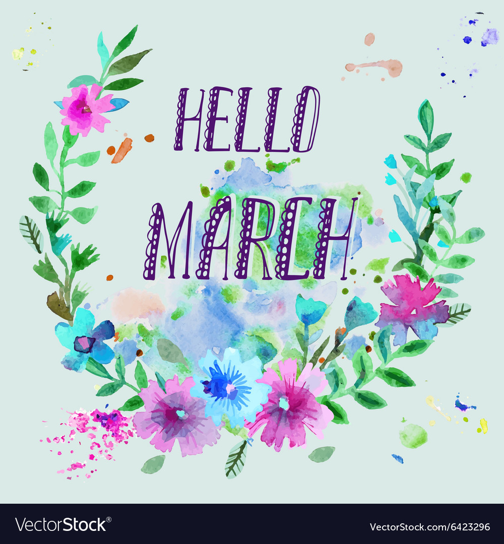 Watercolor wreath Floral frame design with