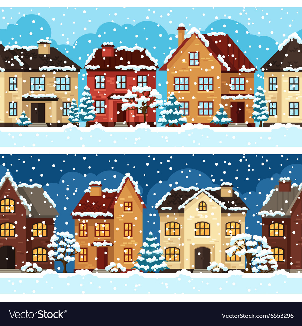Winter urban landscape pattern with houses and