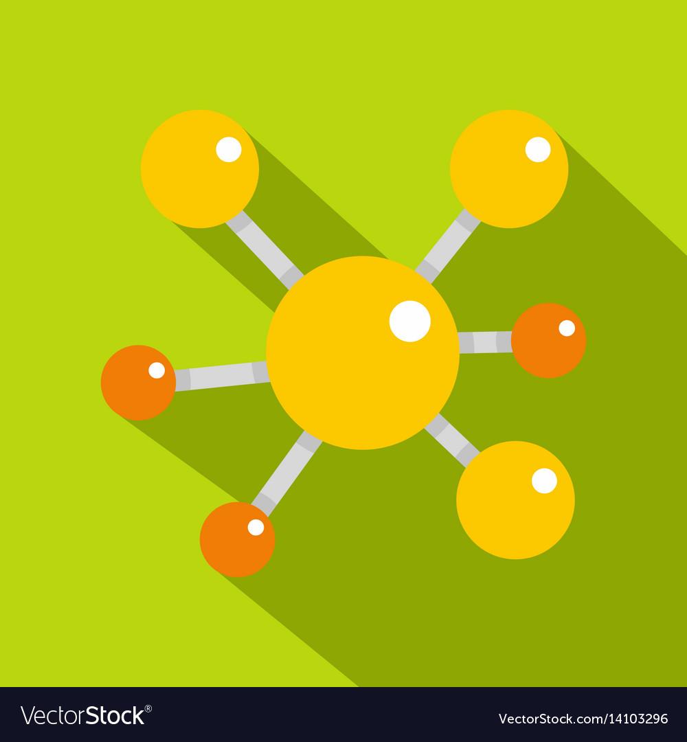 Yellow molecular model icon flat style vector image