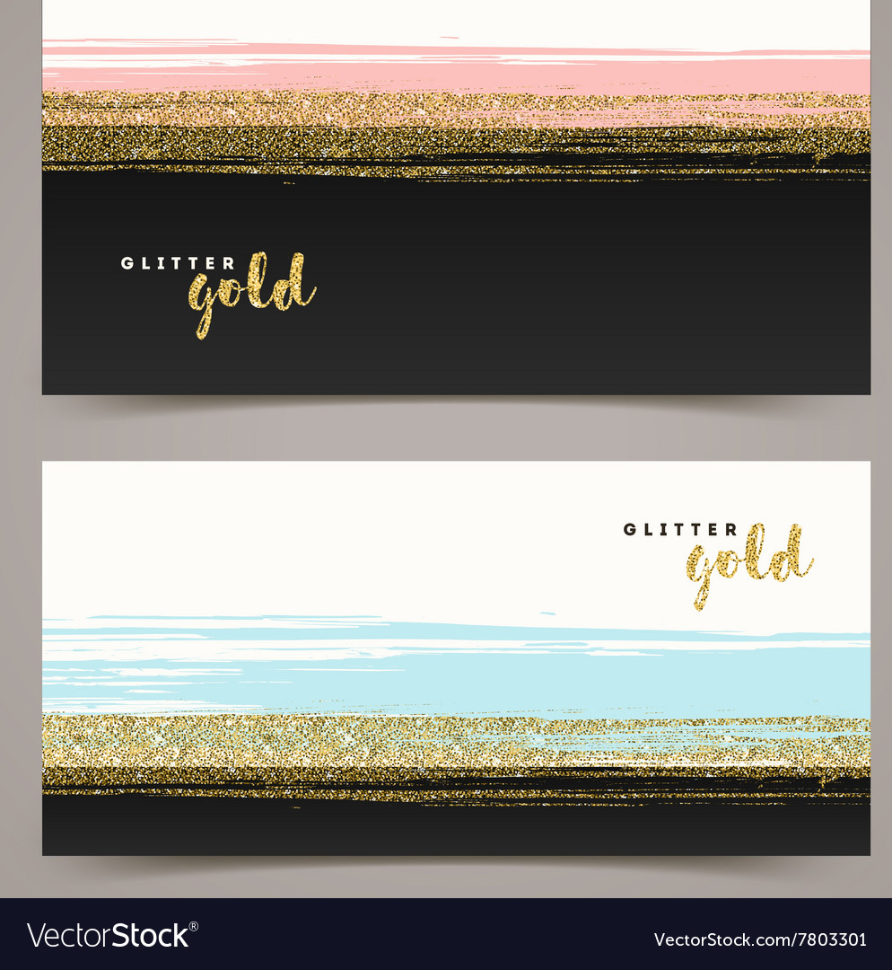 Banners with grunge glitter gold stripe