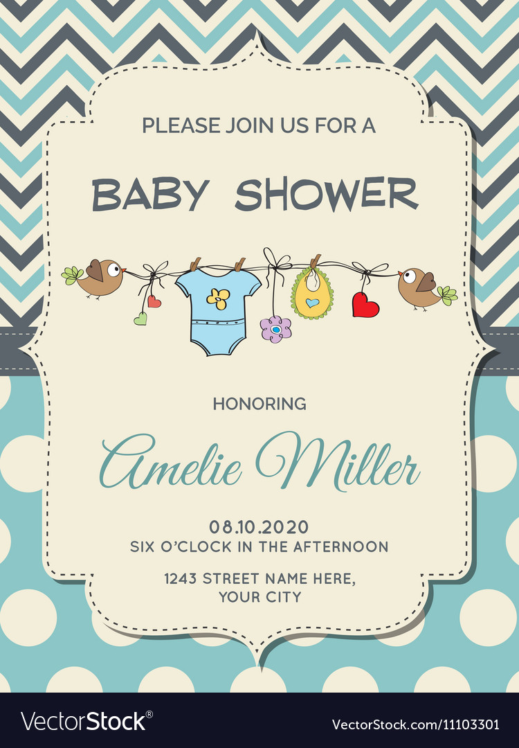 Beautiful Baby Boy Shower Card Royalty Free Vector Image