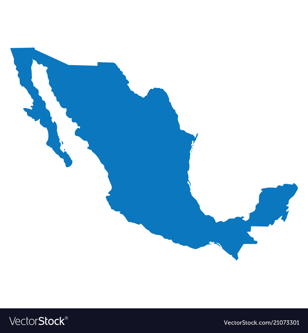 Blank blue similar mexico map isolated on white ba
