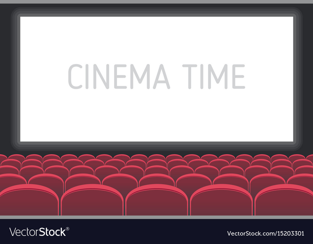 Cinema with white screen and red seats