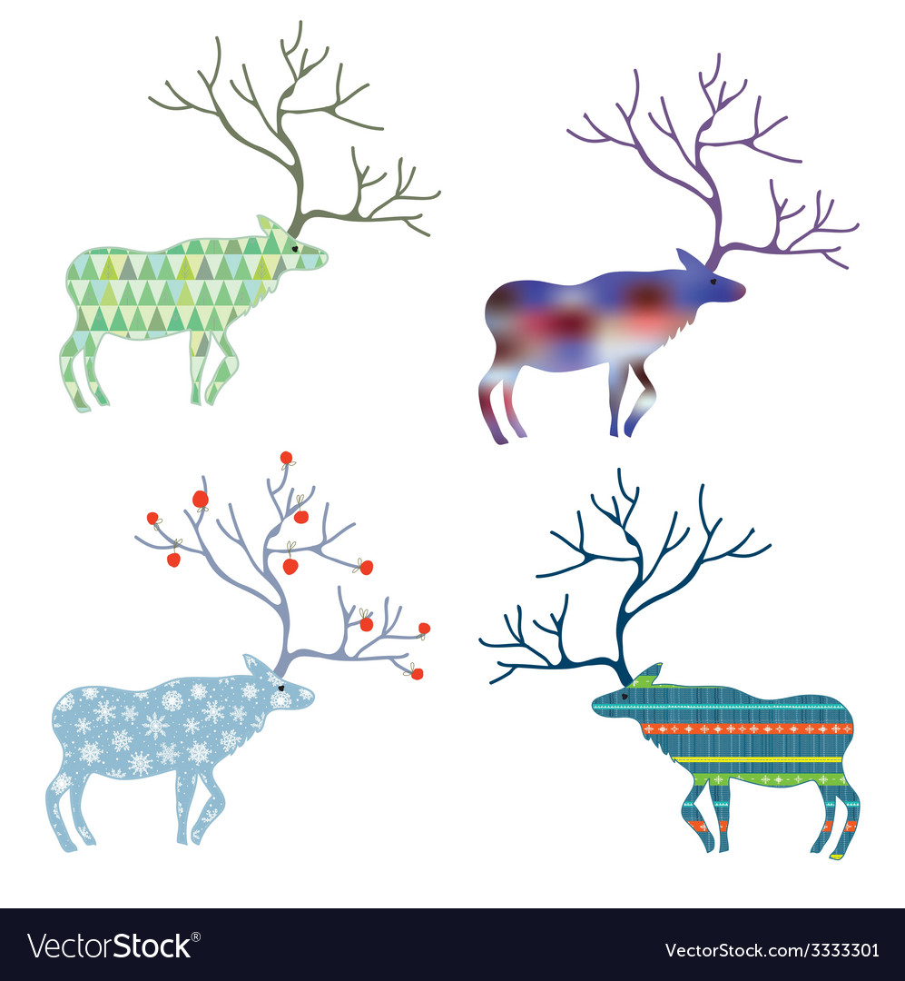 Deers with different pattern set for Christmas