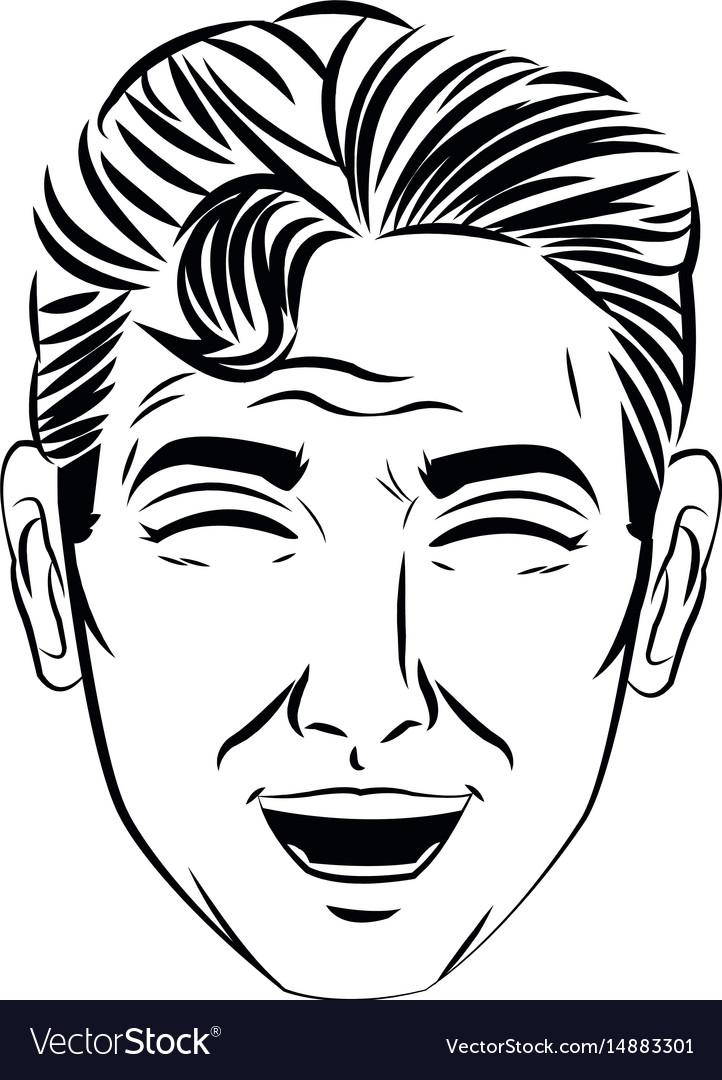 Face man pop art style image