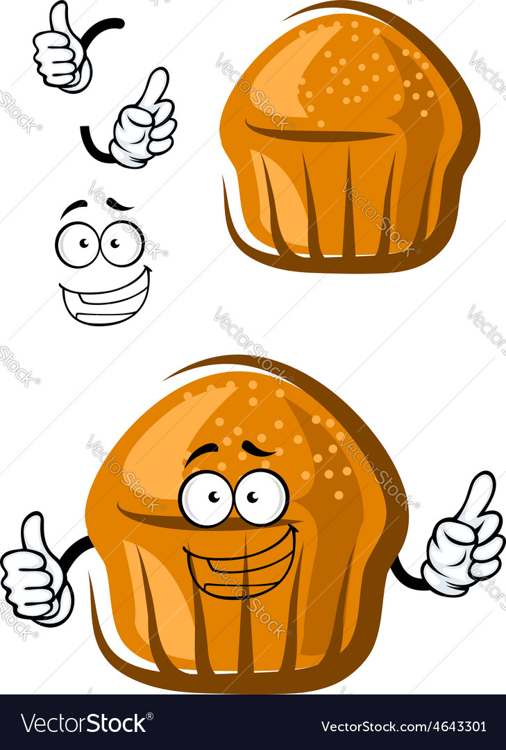 Funny cupcake character with happy face and hands