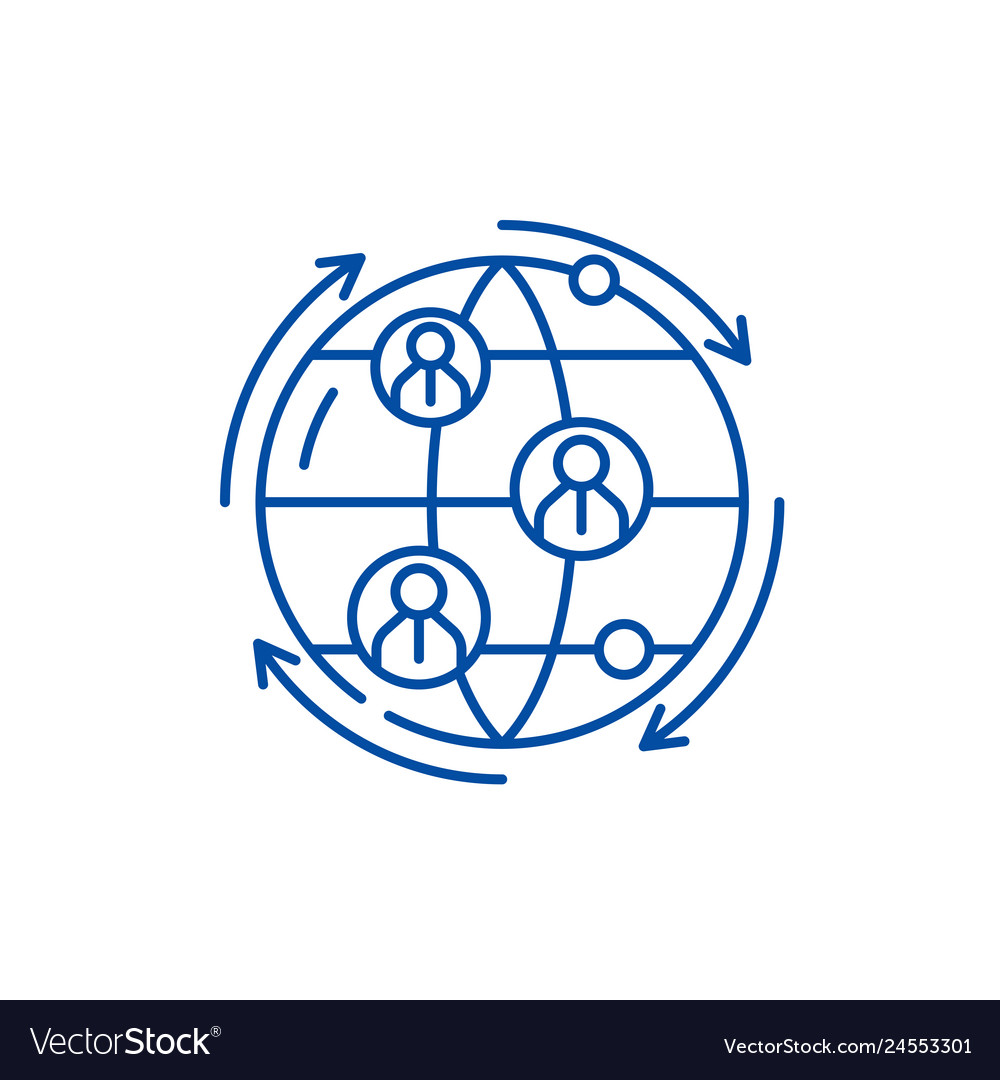 Global business connections line icon concept