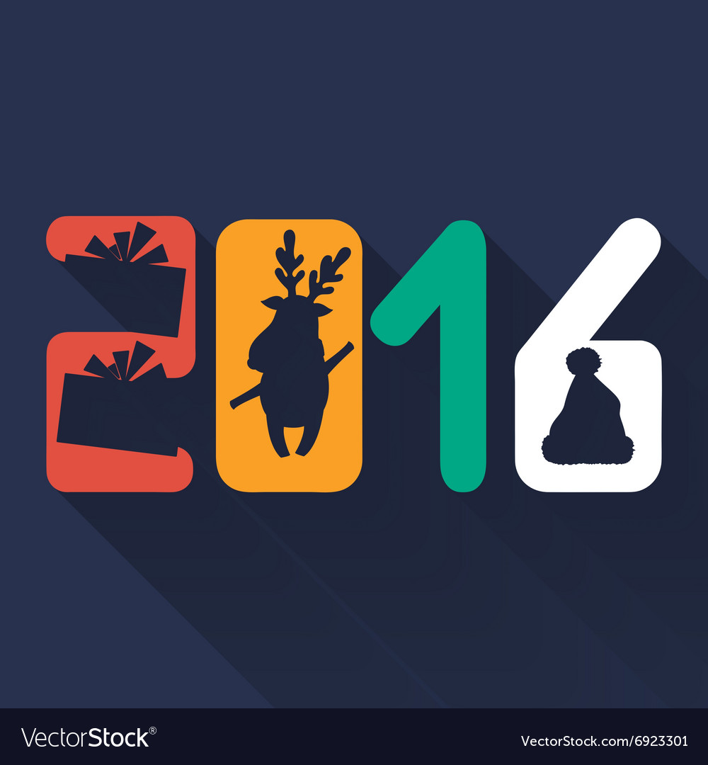 Greeting card for new 2016 year in flat design