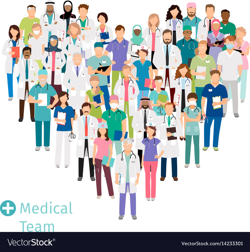 Healthcare medical team in heart shape